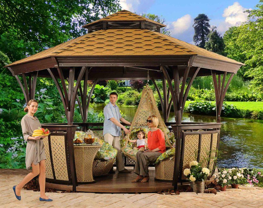 Садовые беседки с мангалом барбекю и печкой: летние кухни 13