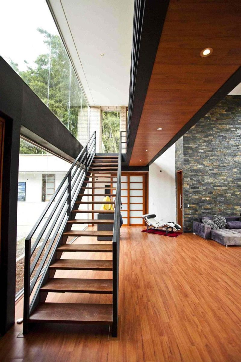 awesome-interior-mezzanine-design-with-brick-effect-wall-design-idea-plus-wooden-floor-also-wooden-stairs-to-attic-room-plus-awesome-wide-glass-window