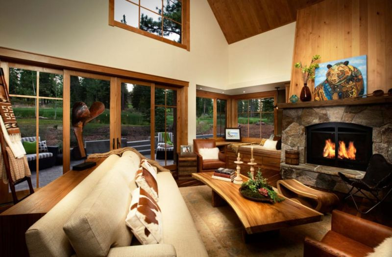 clasic-country-homes-design-ideas-with-glass-window-and-gray-sofa-then-wooden-table-and-fireplace-also-computer-desk-in-the-corner-of-room