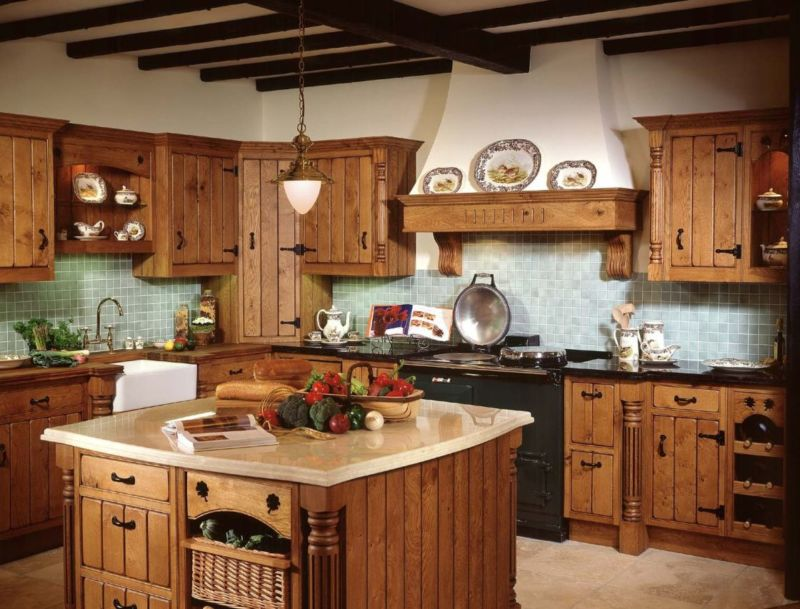rustic-small-country-french-kitchen-design-ideas-with-hickory-walnut-refacing-cabinets-and-small-square-cream-granite-countertop-kitchen-island-1120x853
