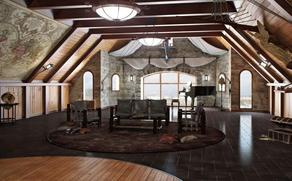 сделать чердак жилым помещением с красивым декором