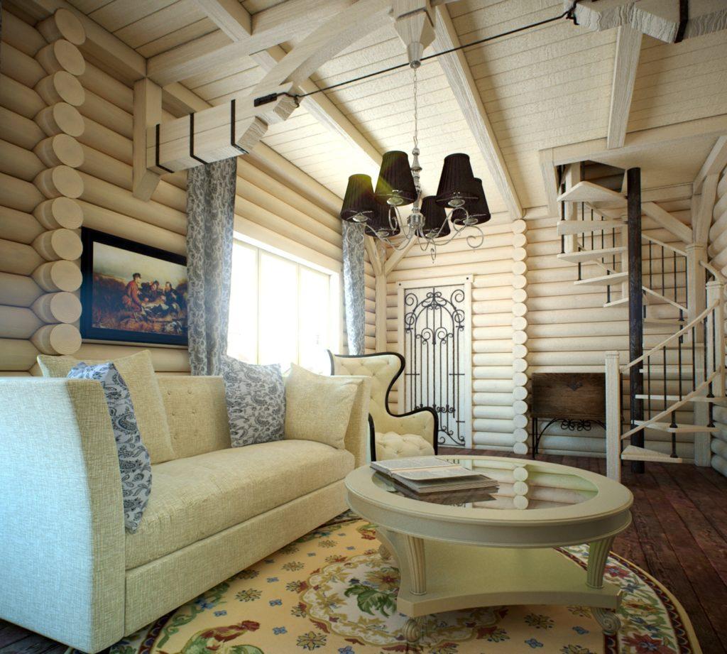 Дизайн интерьера в деревянном доме dom brus