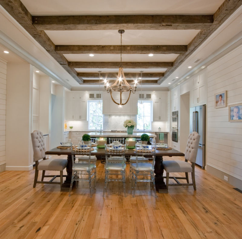 open-beam-ceiling-dining-room-traditional-with-sink-in-island-rustic-ceiling-beams-glass-dining-chairs-kitchen-window-8