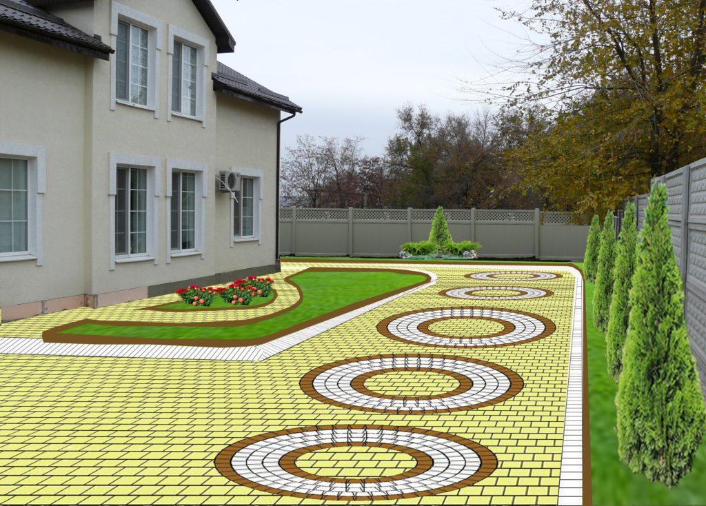 Тротуарная плитка у дома дизайн