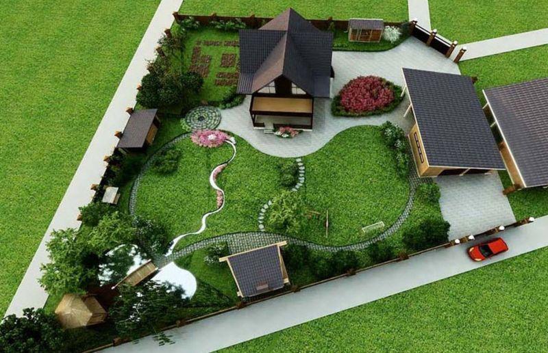 Дизайн участка прямоугольной формы