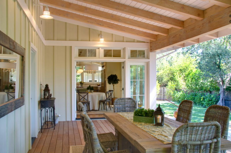vintage-wooden-back-porch-ceiling-also-dining-table-set-exterior-paired-with-white-lamps-design
