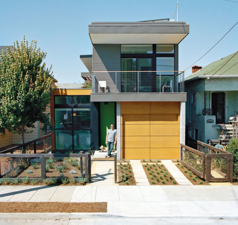 yellow-paint-garage-door-ideas-plus-succulent-planter-also-railing-balcony-balustrade-on-modern-flat-roof-house