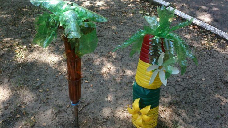 Сделать пальму самому из бутылок своими руками 70