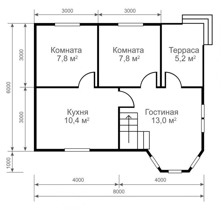 Проекты домов 6 на 10 из пеноблоков. Дом 6х10 м из пеноблока | 702x740