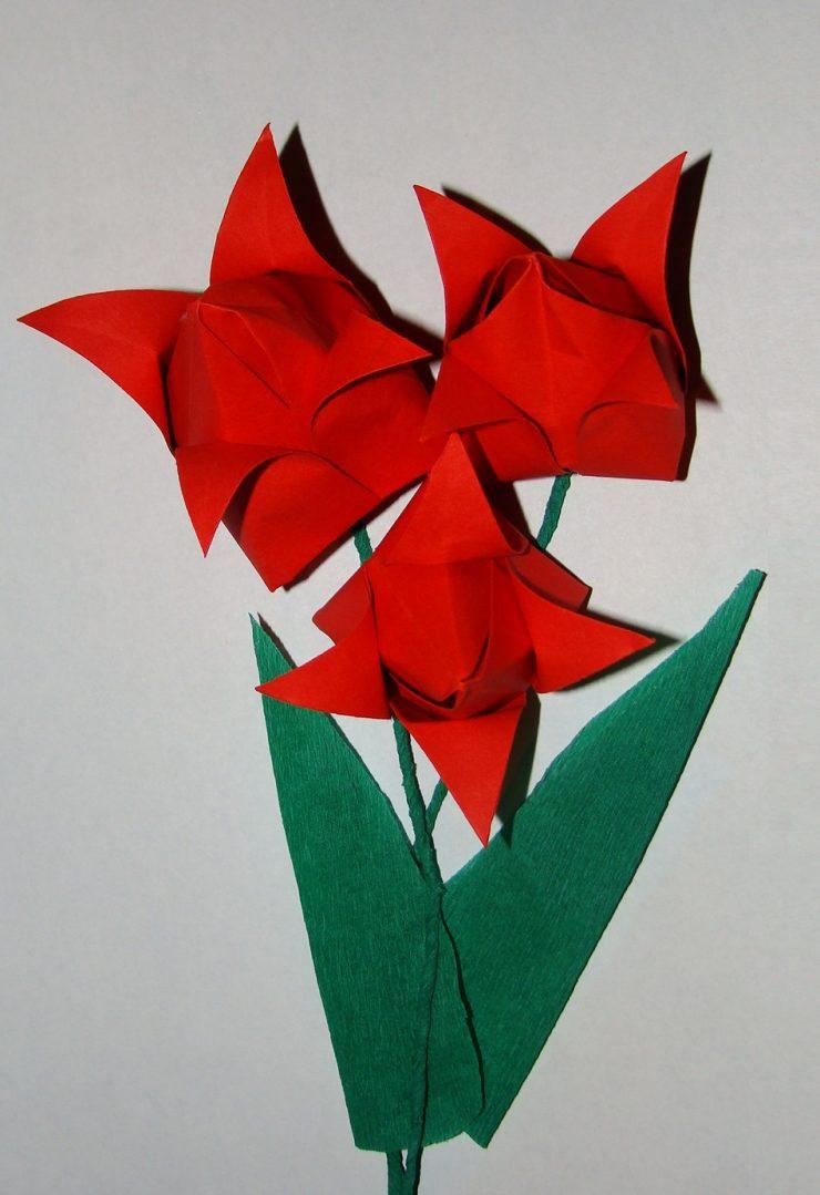 Тюльпан из бумаги своими руками пошаговая инструкция фото 464